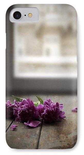 Three Pink Peonies On The Wooden Table IPhone Case by Jaroslaw Blaminsky