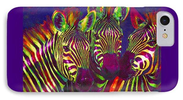 Three Rainbow Zebras IPhone 7 Case by Jane Schnetlage