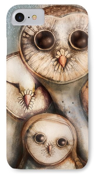 Three Wise Owls Phone Case by Karin Taylor