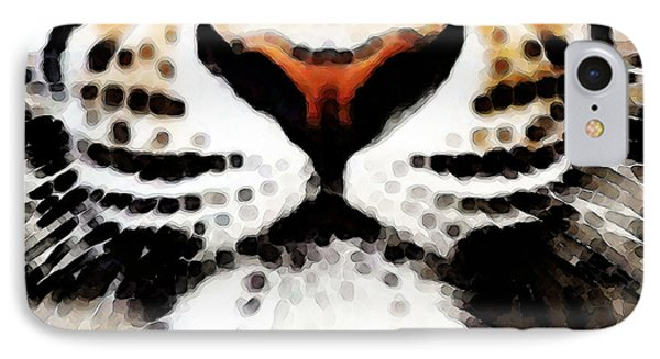 Tiger Art - Burning Bright IPhone Case by Sharon Cummings