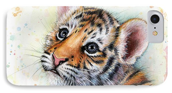 Tiger Cub Watercolor Art IPhone Case by Olga Shvartsur