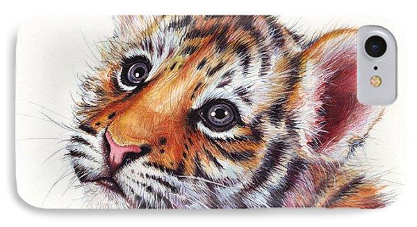 Tiger Cub Watercolor Painting IPhone 7 Case by Olga Shvartsur