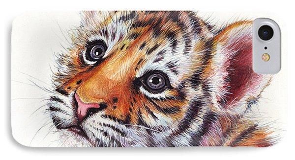 Tiger Cub Watercolor Painting IPhone Case by Olga Shvartsur