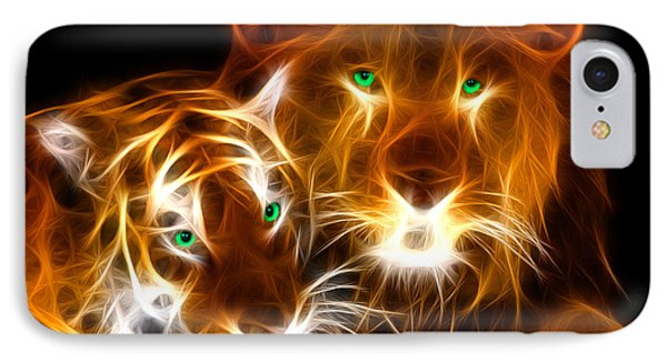 Tiger Lion  IPhone Case by Mark Ashkenazi