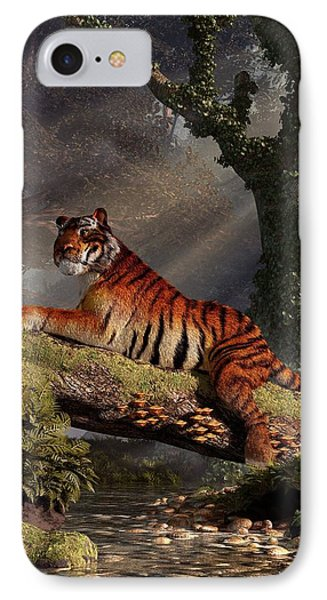 Tiger On A Log IPhone Case by Daniel Eskridge