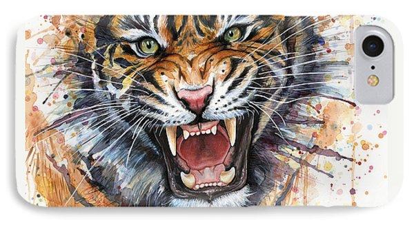 Tiger Watercolor Portrait IPhone Case by Olga Shvartsur