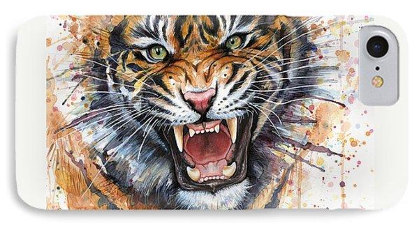 Tiger Watercolor Portrait IPhone 7 Case by Olga Shvartsur
