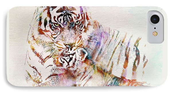 Tiger With Cub Watercolor IPhone Case by Marian Voicu