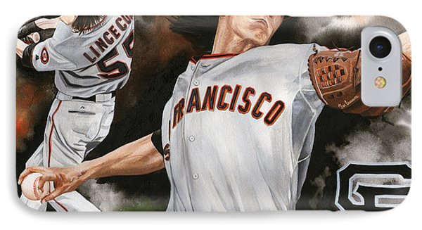 Tim Lincecum IPhone Case by Joshua Jacobs
