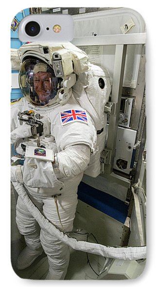 Tim Peake Preparing For Spacewalk IPhone 7 Case by Nasa