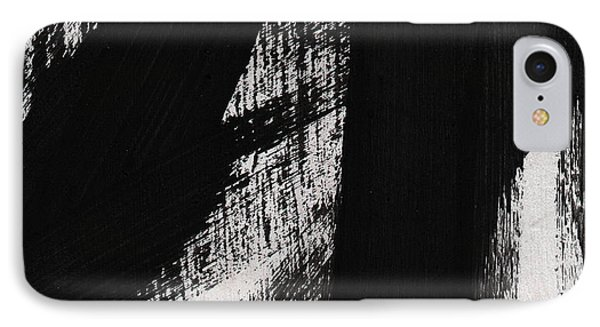 Timber- Vertical Abstract Black And White Painting IPhone Case by Linda Woods