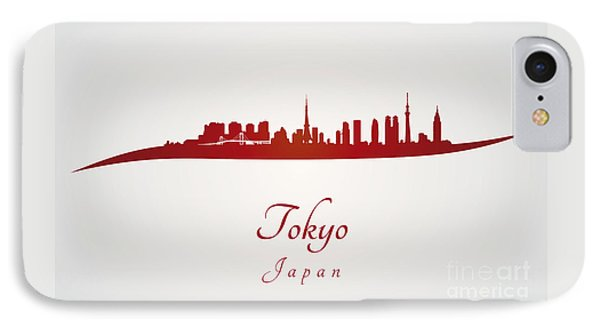 Tokyo Skyline In Red IPhone Case by Pablo Romero