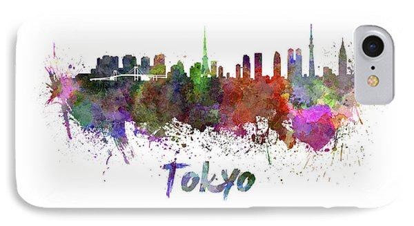 Tokyo Skyline In Watercolor IPhone 7 Case by Pablo Romero