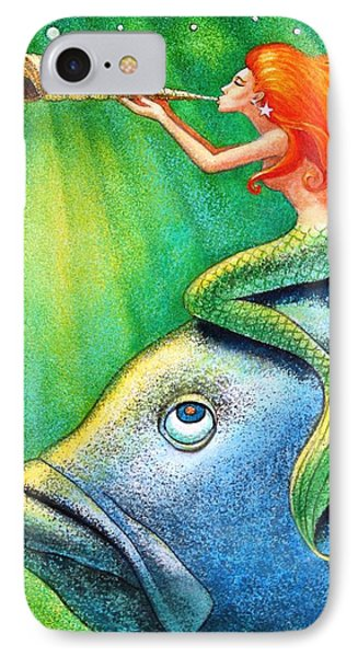 Toot Your Own Seashell Mermaid IPhone Case by Sue Halstenberg