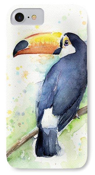 Toucan Watercolor IPhone 7 Case by Olga Shvartsur