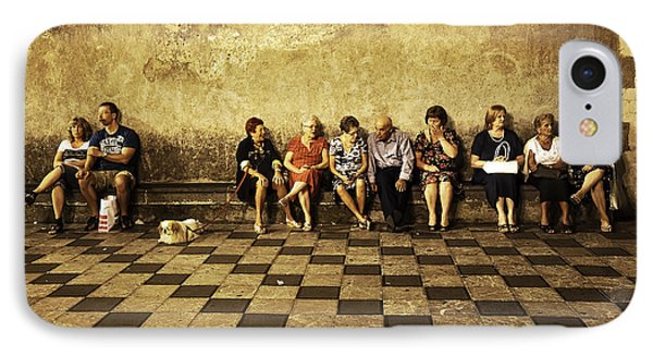 Tourists On Bench - Taormina - Sicily Phone Case by Madeline Ellis