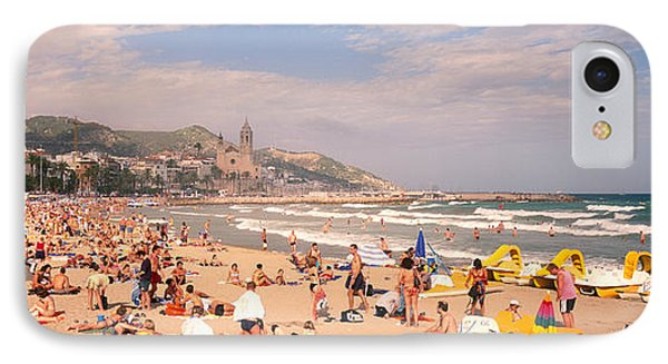 Tourists On The Beach, Sitges, Spain IPhone Case by Panoramic Images