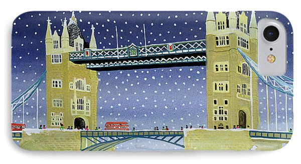 Tower Bridge Skating On Thin Ice Phone Case by Judy Joel