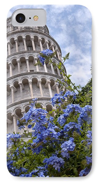 Tower Of Pisa With Blue Flowers Phone Case by Melany Sarafis