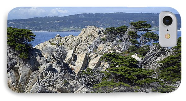 Trees Amidst The Cliffs In California's Point Lobos State Natural Reserve IPhone Case by Bruce Gourley
