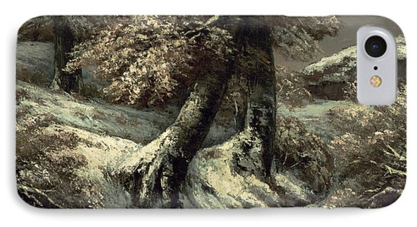 Trees In The Snow IPhone Case by Gustave Courbet