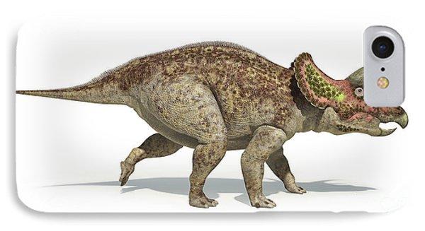 Triceratops Dinosaur On White IPhone Case by Leonello Calvetti