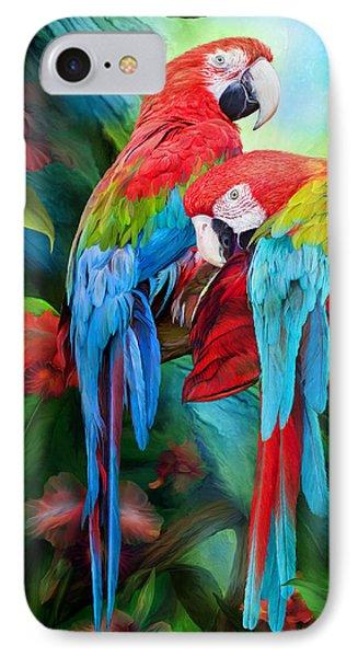 Tropic Spirits - Macaws IPhone 7 Case by Carol Cavalaris