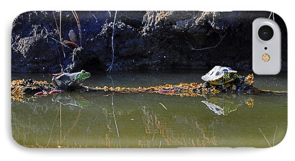 Turtle And Frog On A Log Phone Case by Al Powell Photography USA