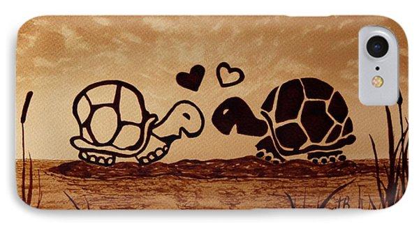 Turtles Love Coffee Painting Phone Case by Georgeta  Blanaru