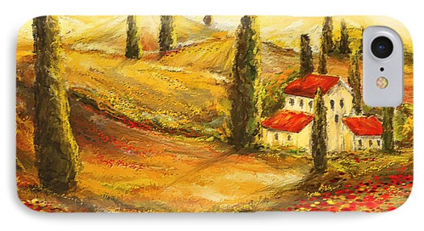 Tuscan Poppies - Tuscan Poppy Fields Impressionist IPhone Case by Lourry Legarde