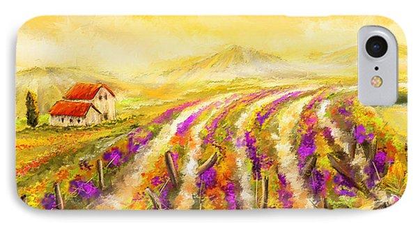 Tuscan Vineyard Sunset - Vineyard Impressionist Paintings IPhone Case by Lourry Legarde