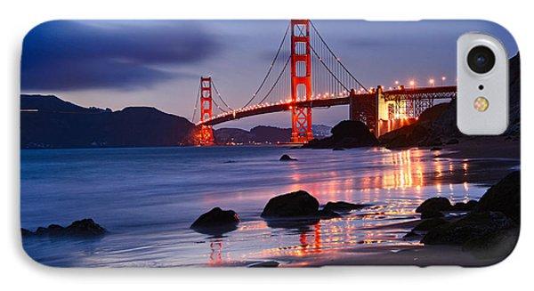 Twilight - Beautiful Sunset View Of The Golden Gate Bridge From Marshalls Beach. IPhone 7 Case by Jamie Pham