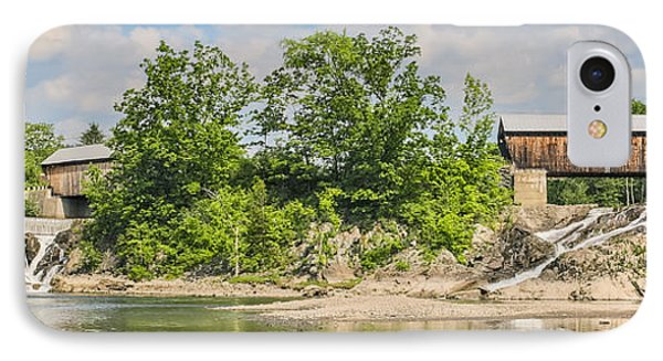 Twin Bridges North Hartland Vermont IPhone Case by Edward Fielding