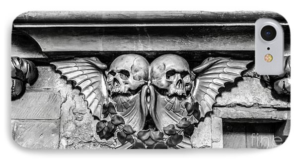 Twin Winged Skull With Laurel Detail - Southwark Cathedral - London - England - Black And White IPhone Case by Ian Monk
