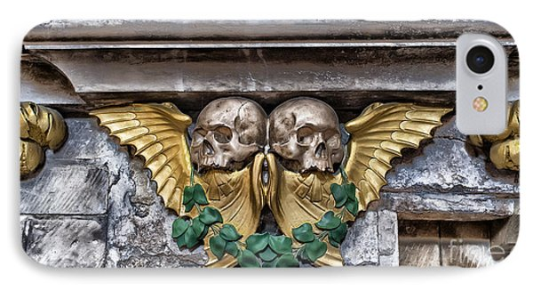 Twin Winged Skull With Laurel Detail - Southwark Cathedral - London - England IPhone Case by Ian Monk