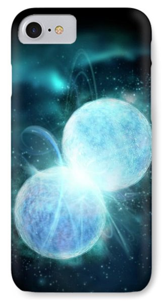 Two Blue Stars Merging IPhone Case by Victor Habbick Visions