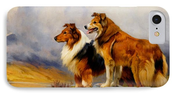 Two Collies Above A Lake Dr IPhone Case by Wright Barker