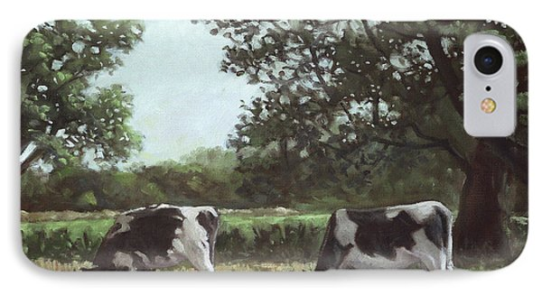 Two Cows In Field At Throop Dorset Uk Phone Case by Martin Davey