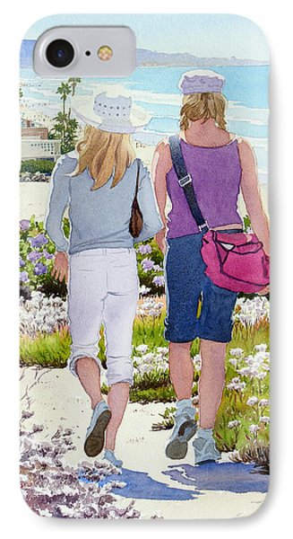 Two Girls At Dog Beach Del Mar IPhone Case by Mary Helmreich