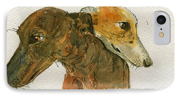 Two Greyhounds IPhone Case by Juan  Bosco