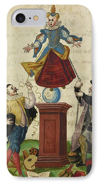Two Men Pulling The Strings Of A Puppet IPhone Case by British Library