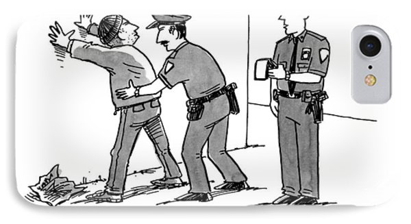 Two Police Officers Arrest A Man IPhone Case by Joe Dator