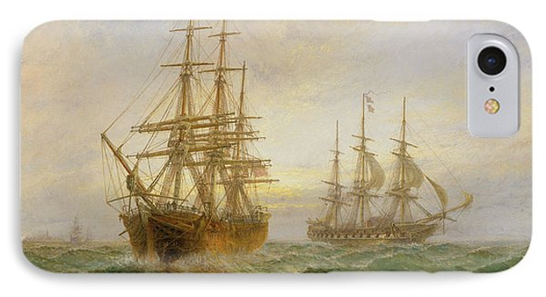 Two Ships Passing At Sunset Phone Case by Claude T Stanfield Moore