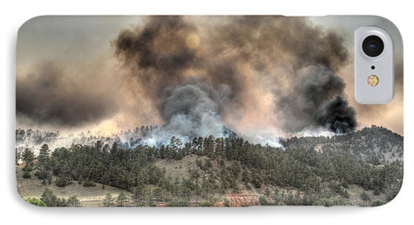 IPhone Case featuring the photograph Two Smoke Columns White Draw Fire by Bill Gabbert