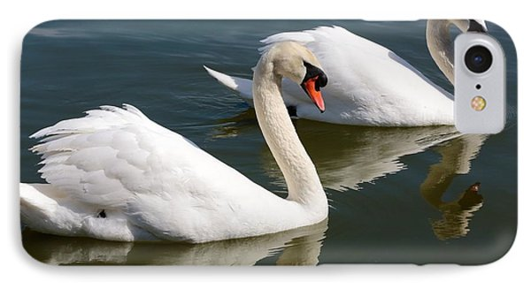 Two Swimming Swans Phone Case by Carol Groenen