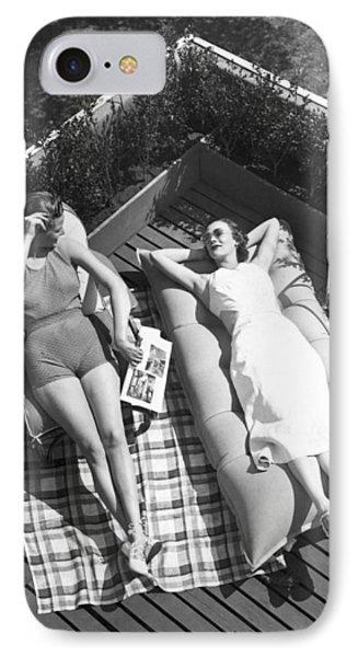Two Women Sunbathing IPhone Case by Underwood Archives
