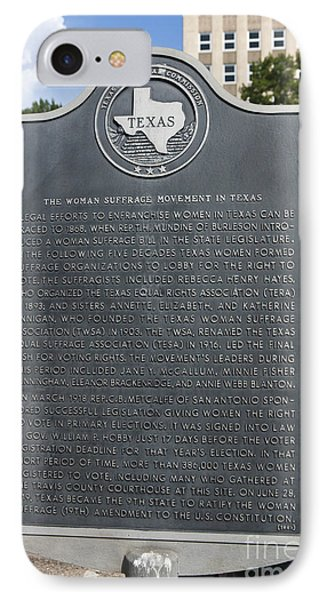 Tx-15026 The Woman Suffrage Movement In Texas IPhone Case by Jason O Watson