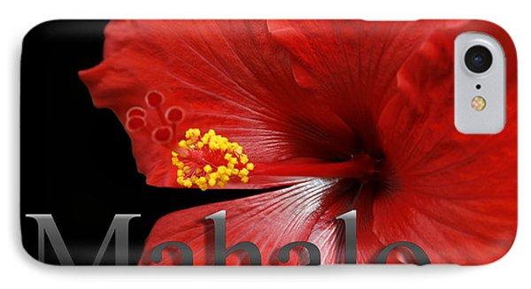 Ula Anoano Hanohano Red Tropical Hibiscus Mahalo Phone Case by Sharon Mau