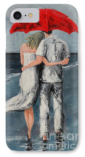 Under Our Umbrella - Modern Impressionistic Art - Romantic Scene IPhone Case by Patricia Awapara