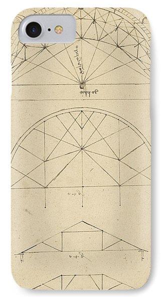 Underdrawing For Building Temporary Arch Phone Case by Leonardo Da Vinci